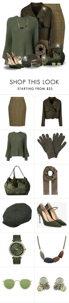 """Olive Chic"" by majezy ❤ liked on Polyvore featuring Barbour, Numerootto, Apiece Apart, Moda Luxe, Henschel, Jennifer Chamandi, Michael Kors, Oliver Peoples, 40 Colori and Stephen Dweck"