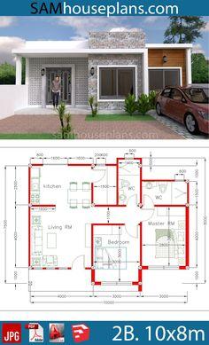 House Plans with 2 Bedrooms - Sam House Plans Flat Roof House Designs, Flat Roof Design, Tiny House Design, Modern House Design, Roof Architecture, Modern Architecture House, Home Design Plans, Home Interior Design, Photo 3d