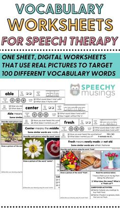 These vocabulary worksheets give multiple exposures to both tier 1 and tier 2 vocabulary words.perfect for providing direct vocabulary instruction during speech and language therapy! They're evidence-based, effective, and take absolutely no prep work - just print and go! This file includes worksheets to target 100 different vocabulary words so you'll have print and go, no-prepvocabulary worksheets that will last you for many years! #speechtherapyvacabularyactivities #vocabularyactivities Vocabulary Instruction, Vocabulary Worksheets, Vocabulary Words, Sensory Activities For Autism, Speech Therapy Activities, Teaching Autistic Children, Phonological Awareness Activities, Education And Literacy, English Class
