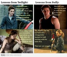 Twilight is the worst movie/book ever created. It teaches young girls bad things. Like how important it is to have a boyfriend. its stupid......