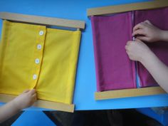 Montessori buttoning/zipping/Velcro activity. I'm making this for Vincent!