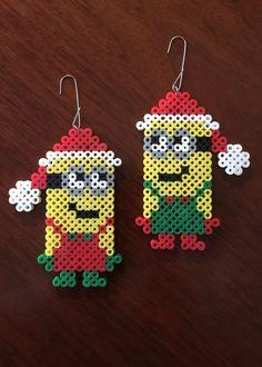 Christmas Minion set ornament perler beads by eb.perler
