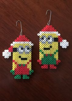 Christmas Minion set ornament perler beads by eb.perler