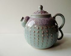 Items similar to Stoneware Teapot Light blue with pink dot in relief and a particular dust glaze effect - MADE TO ORDER - on Etsy Chocolate Pots, Chocolate Coffee, Pink Dot, Pottery Teapots, How To Make Tea, Tea Ceremony, Household Items, Tea Party, Stoneware