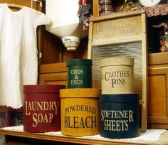 Laundry Room round primitive Shaker Boxes 5 piece set. $47.00, via Etsy.