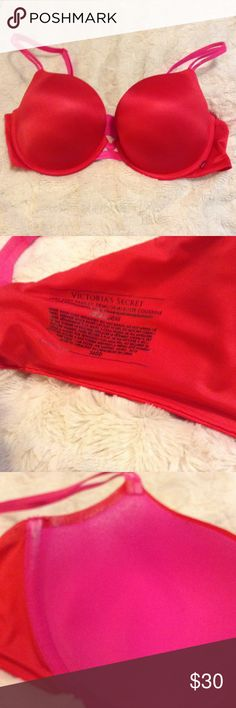 Victoria's Secret Red Very Sexy Padded Demi 36DD Super sexy red with pink detail Victoria's Secret Very Sexy Padded Demi in 36DD. Freshly washed and line dried. Worn only a few times. You can see any wear in cup pictures. Intimates & Sleepwear Bras