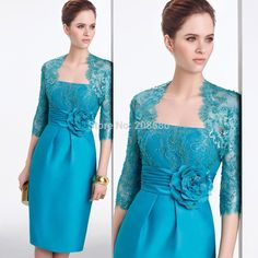 2015-Turquoise-Elegant-Sheath-Handmade-Flowers-Lace-Short-Mother-of-the-Bride-Dresses-Gowns-with-Jacket.jpg (1000×1000)