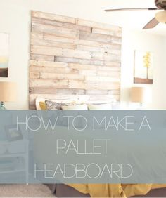 DIY: How to Make a Pallet Headboard - great tutorial shows how to paint the wood, disassemble a pallet and how to correctly lay out and attach the wood to the wall. This is a great project! Pallet Beds, Diy Pallet Furniture, Home Furniture, Pallet Projects, Home Projects, Interior Decorating Tips, Diy Headboards, Idee Diy, Home Upgrades