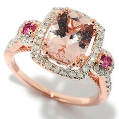 Pamela McCoy Gems of Distinction™ 14K Gold Multi Gemstone & Diamond Halo Ring. Shown in Rose gold with morganite and pink tourmalines