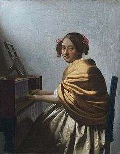 ca. 1670 - Vermeer, Johannes  - A Young Woman Seated at the Virginal (attributed to Vermeer) Oil on canvas 25.2 x 20 cm. - Private collection, New York