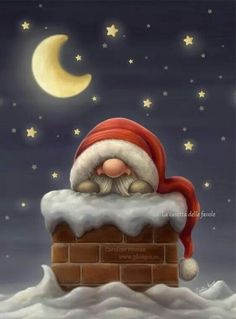 Little Santa on his way down the chimney to put presents under the Christmas tree. Art (c) Caroline Nyman Size: x Gender: unisex. Christmas Gnome, Christmas Art, All Things Christmas, Vintage Christmas, Christmas Holidays, Christmas Decorations, Christmas Ornaments, Nordic Christmas, Christmas Tables