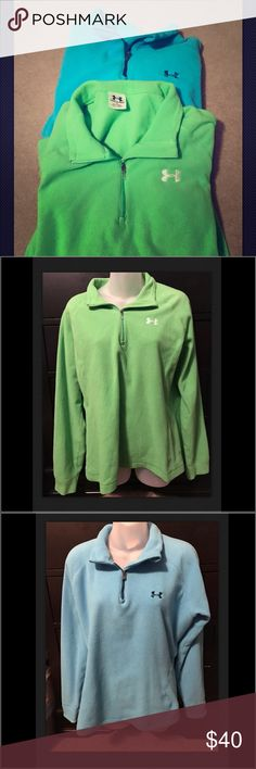 Lot of 2 Under Armour Fleece Half-Zip Pullovers Good pre-owned condition. No holes or stains. Some light pilling due to the material. Smoke & pet free. Under Armour Tops Sweatshirts & Hoodies