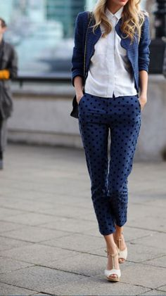 work looks, polka dots, blue fashion, style, smart casual