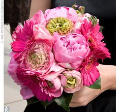 The women carried pink bouquets of gerbera daisies and peonies, which stood out against their black dresses.