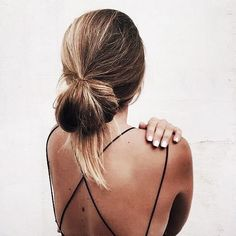 Strappy open back tank and low bun. Summer, school, cute, loose, hairstyle, updo, fashion