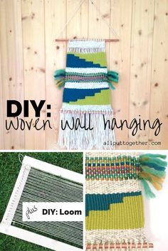 DIY woven wall hanging tutorial. Plus how to make your own loom.