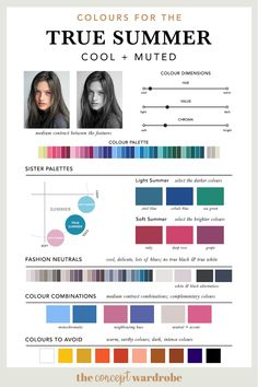 Colours for the True Summer type - the concept wardrobe Cool Skin Tone, Colors For Skin Tone, Cool Tones, Muted Colors, Soft Summer Color Palette, Summer Colors, Summer Color Palettes, Stil Inspiration, Seasonal Color Analysis