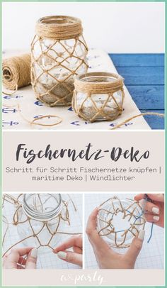 All Details You Need to Know About Home Decoration - Modern Twine Crafts, Rope Crafts, Yarn Crafts, Deco Nature, Diy Home Crafts, Creative Crafts, Decor Crafts, Mason Jar Crafts, Tea Light Holder