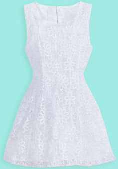 White Sleeveless Lace Embroidery Chiffon Dress - Sheinside.com