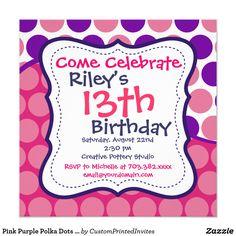 Pink Purple Polka Dots Birthday Party Invitations Birthday Party For Teens, Kids Birthday Party Invitations
