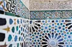Moorish  tiles in the Alhambra, Spain royalty-free stock photo