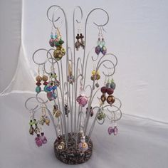earring display/holder made with polymer clay and wire.... love this!!