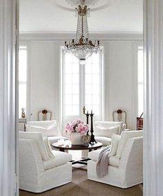 Oh la la! Parisian glamour ✨ #shopthelook #designinspiration #thelocalvault #whitepalette #popofpink #interiordesign #frenchdesign #slipperchairs #crystalchandelier #luxuryconsignment #instadecor #greenwichstyle