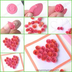 Rose Filled Heart Card Craft Idea for Kids to Make.