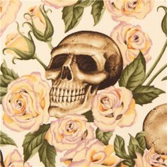 off-white Alexander Henry fabric roses and beige skulls 3