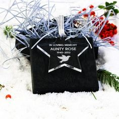 Engraved Star Dove In Loving Memory Decoration :: Personalised with any name and year - Fast UK Delivery. Personalised Gift Shop, Christmas Gifts, Christmas Tree, Engraved Gifts, In Loving Memory, Gift Wrapping, Memories, Love, Stars
