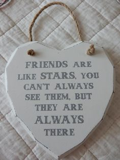 Shabby Vintage Friends are Like Stars Wooden Heart Wall Plaque Hanging Sign