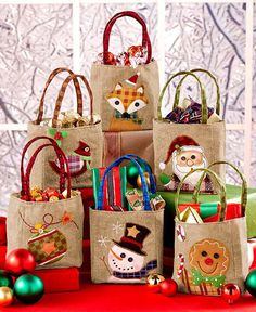 Christmas Gift Bags Burlap Set of 6 Decorated Embroidered Holiday Festive Giving