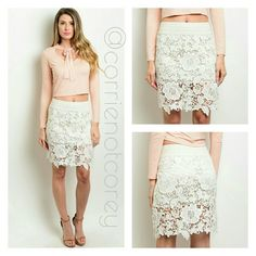 •COMING SOON•Lace skirt Add the perfect feminine touch to your favorite outfit. Perfect for summer, but could easily transition into fall with a long sleeve chambray shirt and ankle boots.  Like this listing to be notified once I receive this! boutique  Skirts Pencil