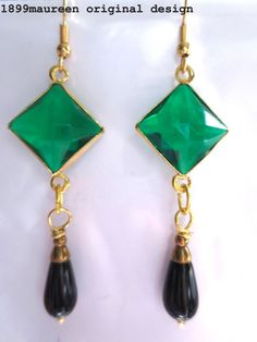 Art Deco earrings Art Nouveau geometric vintage style emerald green black drop #handcrafted #DropDangle Green Earrings, Drop Earrings, Art Nouveau, Art Deco Earrings, Vintage Fashion, Outfits, Accessories, Style, Jewelry