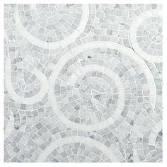 Spiro Mosaic Tile   Honed Carrara and Polished Thassos