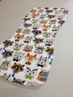 White Fox Racoon and Owl Burp Cloth by BabyBubbaSteps on Etsy