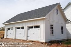 Plan Expanded Farmhouse Plan with 3 or 4 Beds Car Barn, Barn Garage, Garage Plans, Garage Ideas, Garage Doors, Farmhouse Homes, Farmhouse Plans, Country Farmhouse, Architectural Design House Plans