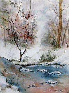 Aquarelle sur papier 300 g Grain fin - Hiver dans les Vosges - Paysage de neige