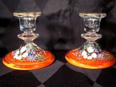 Art Deco Glass Candle Holders Floral Design Vintage  #Unknown