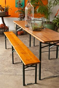 Biergarten table and benches.  Repinned by www.mygrowingtraditions.com