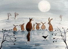 Original Watercolour Painting - FOX, HARES & BIRD IN THE WINTRY MOONLIT…