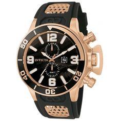 Invicta 80316 Men's Corduba Black Dial Rose Gold Steel Rubber Strap GMT Dive Watch
