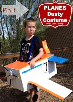 Disney Planes Costume - Make your own homemade Dusty Halloween costume from Disney& Planes movie using a cardboard box and duck tape. Diy Costumes For Boys, Disney Halloween Costumes, Last Minute Halloween Costumes, Homemade Costumes, Boy Costumes, Family Halloween, Holidays Halloween, Halloween Diy, Halloween Themes