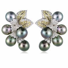 peridot and south sea pearl earrings | 18ct Diamond and South Sea Pearl 18k Two Tone Gold Earrings