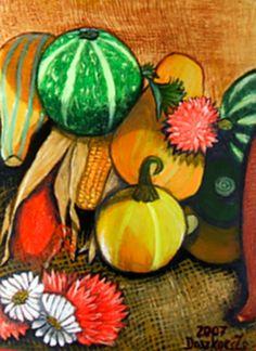 Őszi csendélet - Virágok, akril festmények