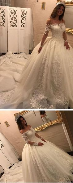 Lace Off-the-Shoulder Long Sleeves Bridal Gowns Wedding Dresses With Train, Shop plus-sized prom dresses for curvy figures and plus-size party dresses. Ball gowns for prom in plus sizes and short plus-sized prom dresses for Western Wedding Dresses, Wedding Dress Styles, Dream Wedding Dresses, Bridal Dresses, Wedding Gowns, Lace Wedding, Wedding Venues, Wedding White, Wedding Decor