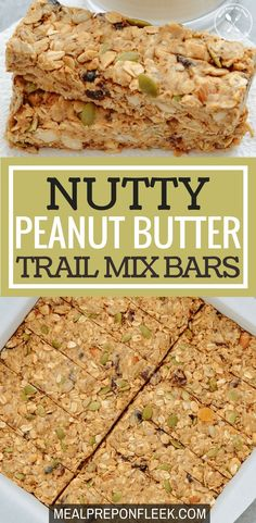 Nutty Peanut Butter Trail Mix Bars - Nutty Peanut Butter Trail Mix Bars are a combination of high-protein peanut butter dried fruit nuts and seeds. They are an easy no-bake gluten-free snack that is packed full of superfoods. Gluten Free Recipes For Lunch, Whole 30 Recipes, Lunch Recipes, Healthy Dinner Recipes, Breakfast Recipes, Vegan Recipes, Breakfast Ideas, Easy Recipes, Sweets Recipes