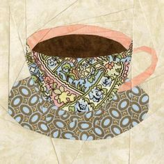 English Teacup Quilt Block Pattern