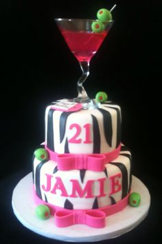 Martini Birthday Cake! I want for my 30th but with Leopard :)