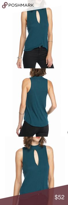 Free People Faye Ribbed cutout top NWT! Turquoise, flattering vertical ribbed lines and cutout. Free People Tops